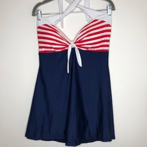 Sailor girl red, white, blue 1 piece bathing suit